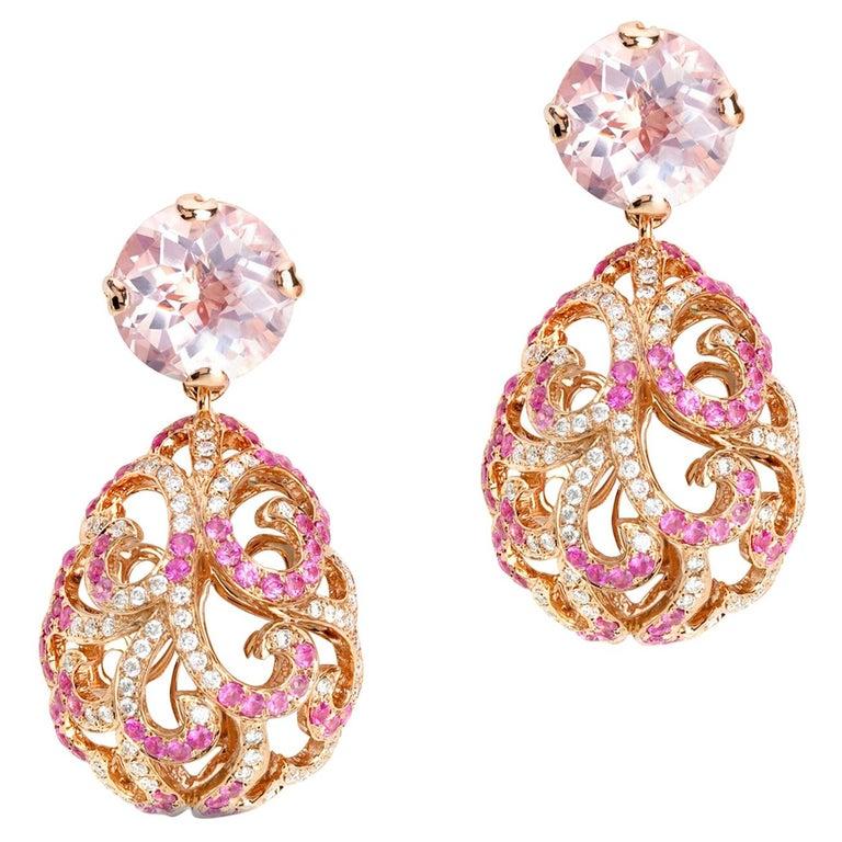 Fei Liu 18 Karat Gold Large Hollow Tear With Rose Quartz Drop Earrings  For Sale