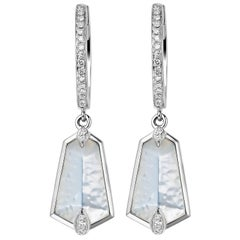 Fei Liu Mother of Pearl Diamond 18 Karat White Gold Hoop Kite Drop Earrings