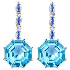 Fei Liu Topaz Sapphire White Gold Drop Earrings