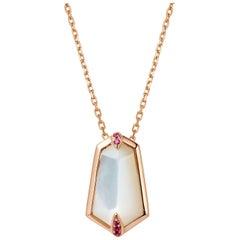 Fei Liu 18 Karat Rose Gold Kite Shape Pendant Necklace with Pink Sapphires