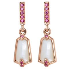 Fei Liu  18 Karat Rose Gold Kite Shape Small Drop Earrings with Pink Sapphire