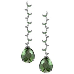 Fei Liu 18 Karat White Curl Dangle Earrings with Large Pear Green Amethyst