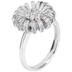 Fei Liu 18 Karat White Gold and Diamonds Daisy Cocktail Ring