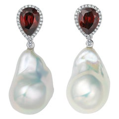 Fei Liu 18 Karat White Gold Garnet with Pearl Drop Earrings