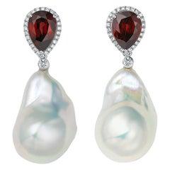 Fei Liu Garnet Diamond Baroque Pearl White Gold Stud Drop Earrings