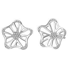 Fei Liu 18 Karat White Gold Large Unit Stud Earrings