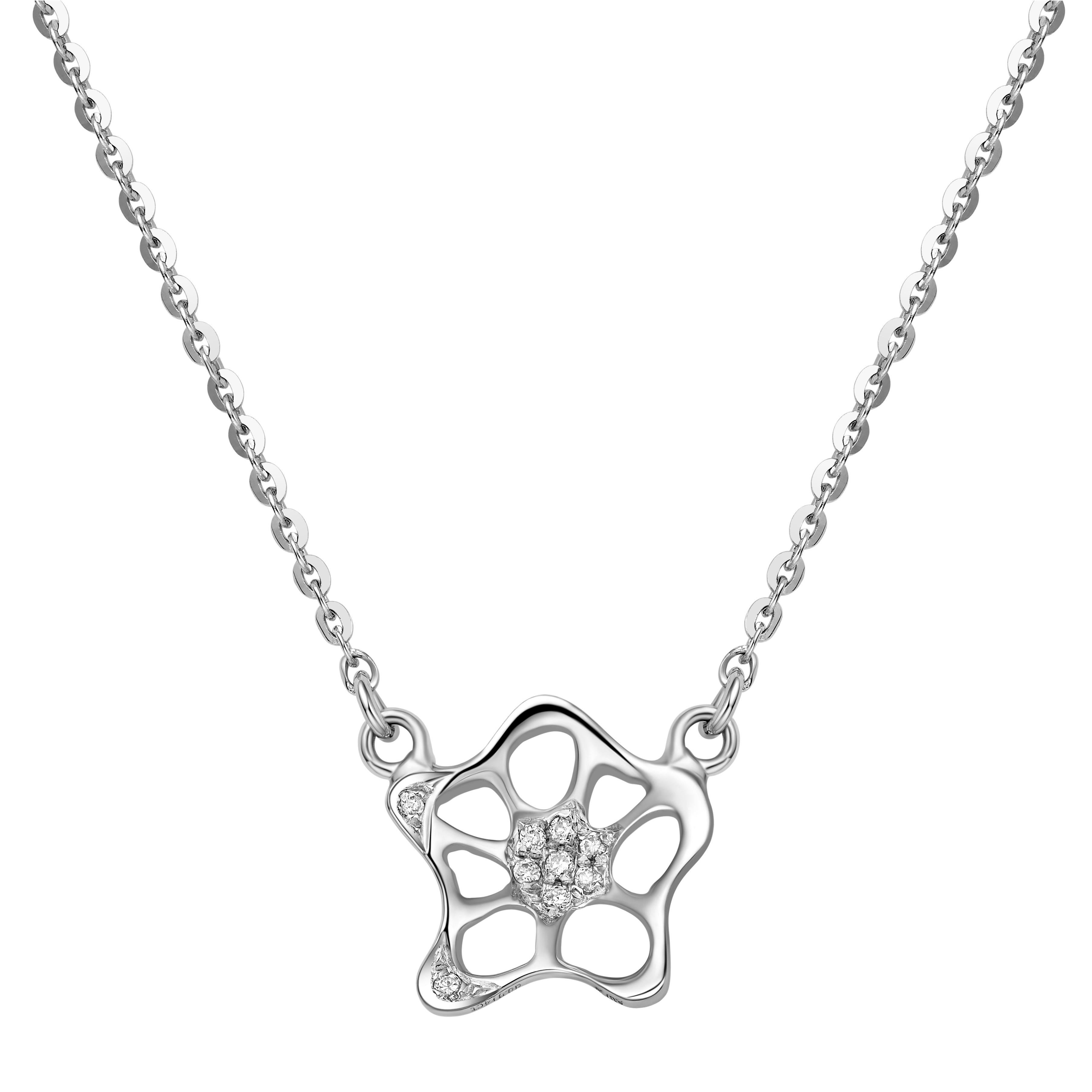 Fei Liu 18 Karat White Gold Small Unit Pendant Necklace For Sale At