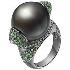 Fei Liu 18 Karat White Gold Tahitian Pearl with Diamonds Cocktail Ring