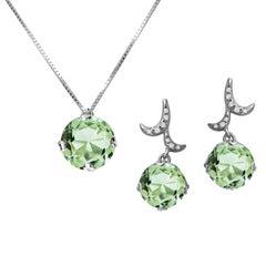Fei Liu 18 Karat White Gold Small Round Green Amethyst Earrings Necklace Set