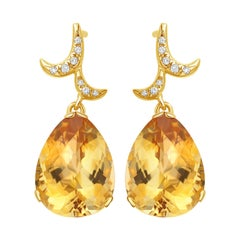 Fei Liu Citrine Diamonds Yellow Gold Earrings