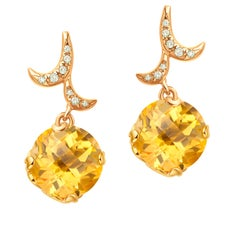 Fei Liu Checkerboard Cut Citrine Diamond 18 Karat Yellow Gold Drop Earrings