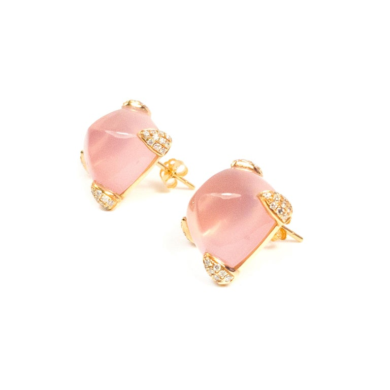 Fei Liu Fine Jewellery 18ct rose gold stud earrings. Exuding elegance with the focal rose quartz, with diamond-set claws. A charming pair of earrings with a touch of glamour mixed with sophistication.