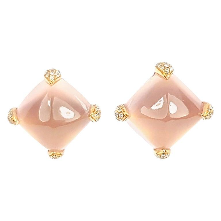 Fei Liu 18 Karat Yellow Gold Rose Quartz Stud Earrings For Sale