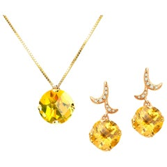 Fei Liu 18 Karat Yellow Gold with Small Round Citrine Earrings Necklace Set