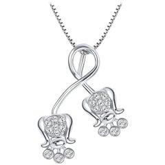 Fei Liu Diamond 9 Karat White Gold Pendant Necklace