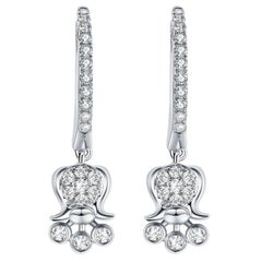 Fei Liu Diamond 9 Karat White Gold Lily of the Valley Drop Earrings