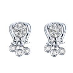 Fei Liu Diamond 9 Karat White Gold Stud Earrings