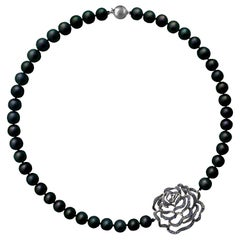Fei Liu Black Pearl Blue Sapphire 18 Karat Black Gold Necklace