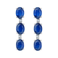 Fei Liu Blue Sapphire Diamond White Gold Drop Earrings