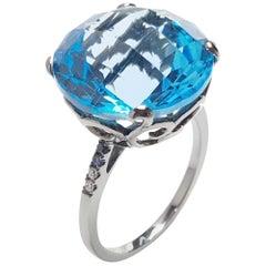 Fei Liu Blue Topaz Blue Sapphire Diamond Black Gold Ring
