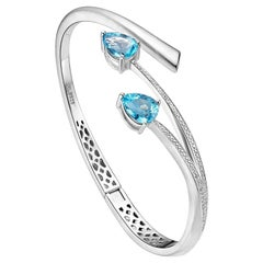 Fei Liu Blue Topaz Cubic Zirconia Sterling Silver Bangle Bracelet