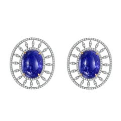 Fei Liu Boulder Tanzanite Diamond 18 Karat White Gold Stud Earrings