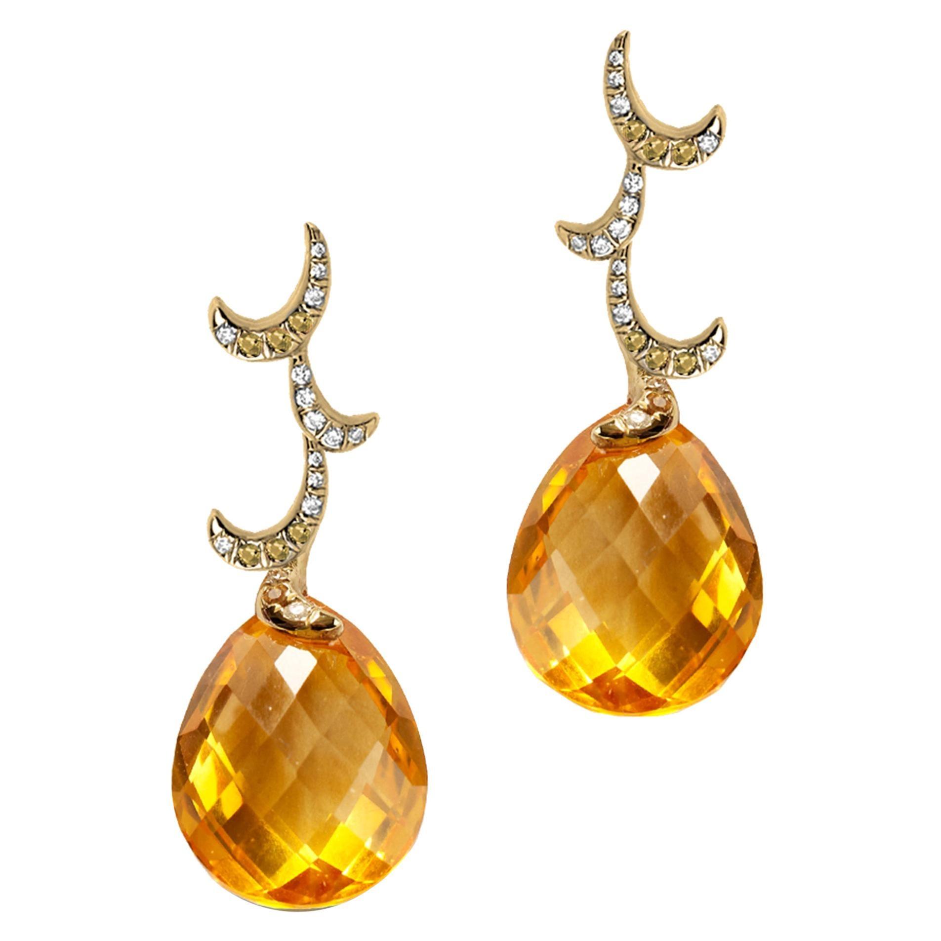 Fei Liu Briolette Citrine Diamond 18 Karat Yellow Gold Drop Earrings