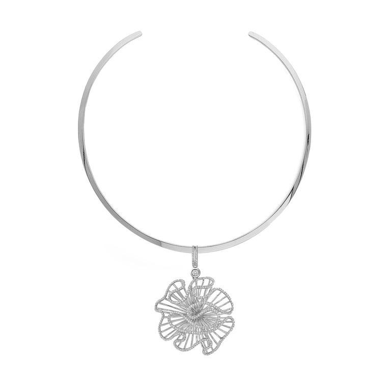 Fei Liu Cascade Big Pendant Silver Choker Necklace