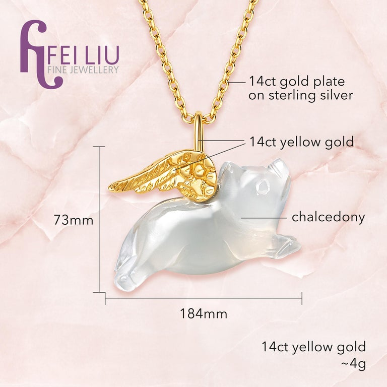 Contemporary Fei Liu Chalcedony Pig Yellow Gold Wings 14 Karat Necklace Bracelet For Sale