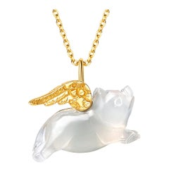 Fei Liu Chalcedony Pig Yellow Gold Wings Necklace Bracelet