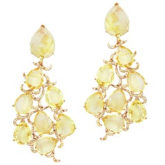 Fei Liu Citrine Garnet Brown Diamond White Diamond Yellow Gold Earrings