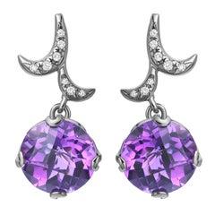 Fei Liu Checkerboard Cut Purple Amethyst Diamond 18K Black Gold Drop Earrings
