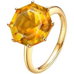 Fei Liu Citrine 18 Karat Yellow Gold Cocktail Ring