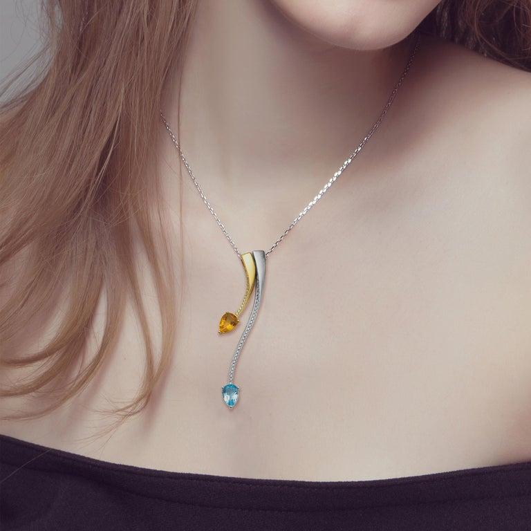 Pear Cut Fei Liu Citrine Blue Topaz Cubic Zirconia Sterling Silver Pendant Necklace For Sale