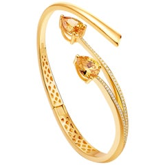 Fei Liu Citrine Cubic Zirconia Gold Plated Sterling Silver Bangle Bracelet