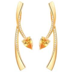 Fei Liu Citrine Cubic Zirconia Sterling Silver Two-Piece Stud Drop Earrings