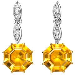 Fei Liu Citrine Diamond White Yellow Gold Drop Earrings