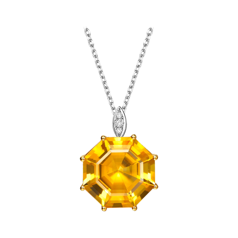 Fei Liu Citrine Diamond 18 Karat White Yellow Gold Pendant Necklace