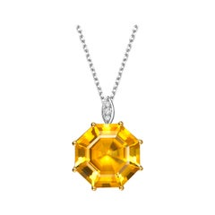Fei Liu Citrine Diamond 18 Karat White Yellow Gold Pendant Necklace