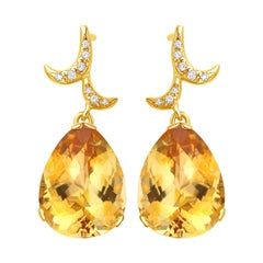 Fei Liu Citrine Diamonds 18 Karat Yellow Gold Drop Earrings