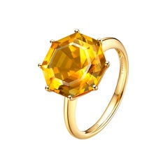 Fei Liu Citrine 18 Karat Yellow Gold Cocktail Ring