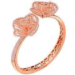 Fei Liu Cubic Zirconia 18 Karat Rose Gold Plated Sterling Silver Bangle Bracelet