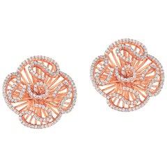 Fei Liu Cubic Zirconia 18 Karat Rose Gold Plated Sterling Silver Stud Earrings