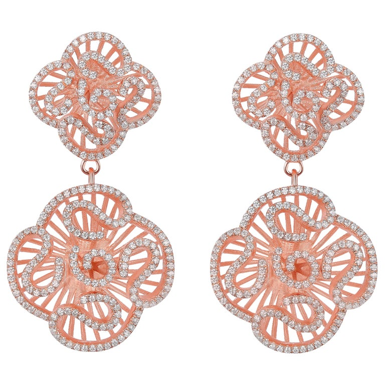Fei Liu Cubic Zirconia 18ct Rose Gold Plated Sterling Silver Drop Earrings For Sale