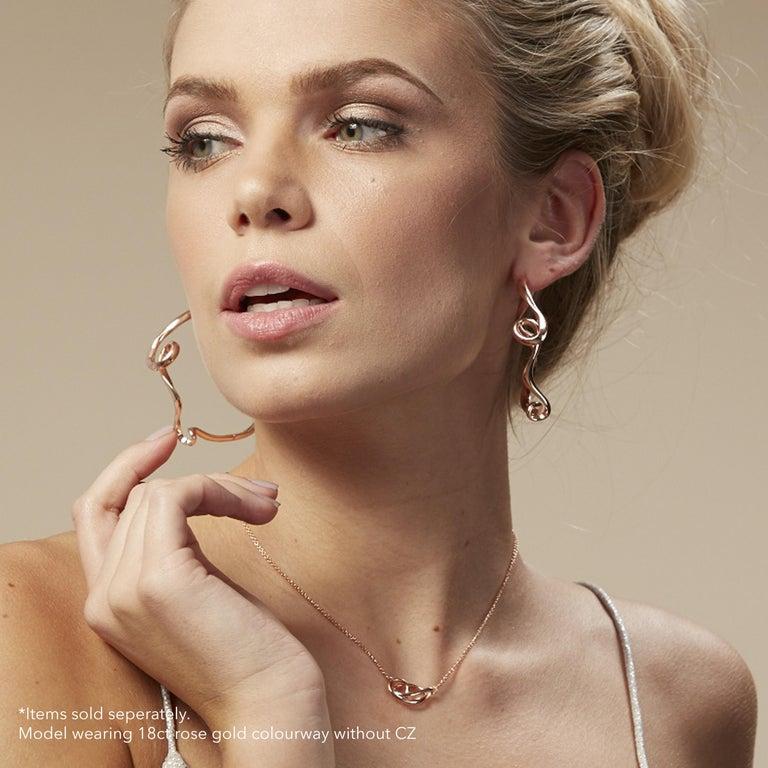 Contemporary Fei Liu Cubic Zirconia Sterling Silver Endless Hoop Earrings For Sale