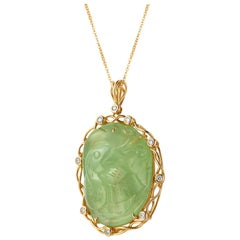 Fei Liu Cygnet Carved Prehnite Diamond 18 Karat Yellow Gold Statement Pendant