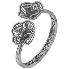 Fei Liu CZ Black Rhodium Plated Sterling Silver Bangle Bracelet