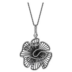Fei Liu CZ Black Rhodium Plated Sterling Silver Statement Pendant Necklace