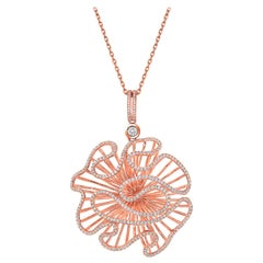 Fei Liu CZ Rose Gold Plated Sterling Silver Statement Pendant Necklace
