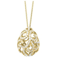 Fei Liu Diamond 18 Karat Yellow Gold Domed Filigree Egg Pendant Necklace